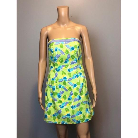 76b12688b8bba5 Lilly Pulitzer Dresses | Bird Leaf Print Strapless Dress | Poshmark